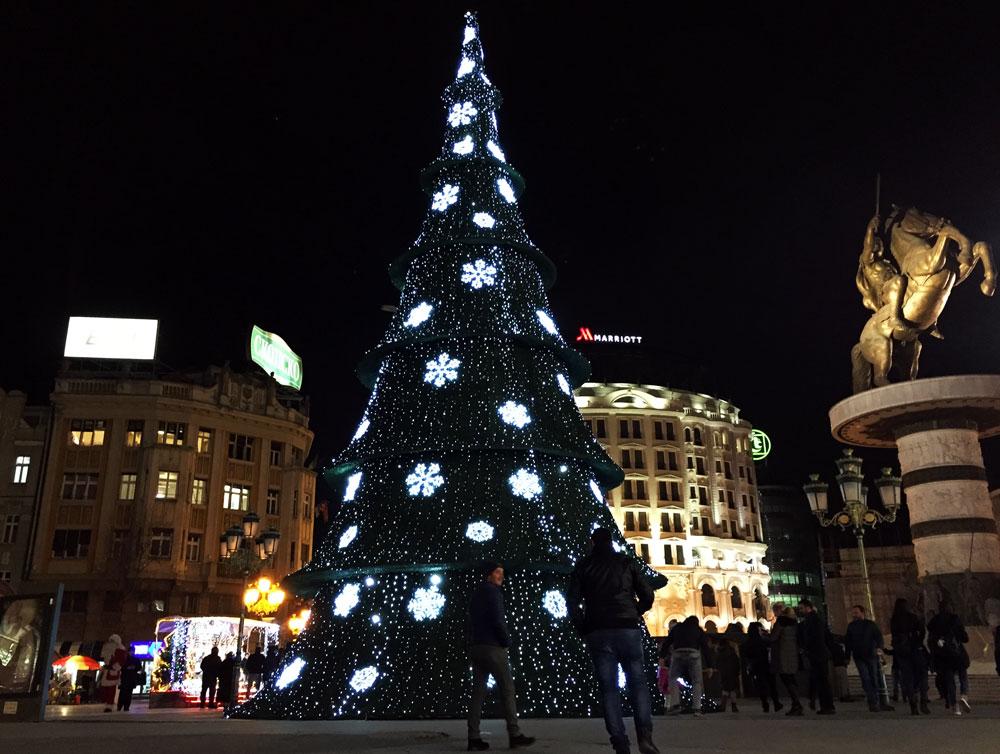 ヨーロッパ海外インターンクリスマスツリー画像